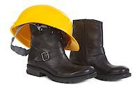 Boots and yellow hard hat over white background, small natural shadow under boots Stock Photo - Royalty-Freenull, Code: 400-06740218