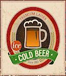 Vintage Cold Beer Poster. Vector illustration. Stock Photo - Royalty-Free, Artist: avian                         , Code: 400-06741029