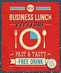 Vintage Bussiness Lunch Poster. Vector illustration. Stock Photo - Royalty-Free, Artist: avian                         , Code: 400-06741032