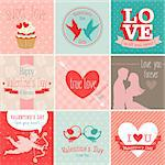 Valentine`s Day set - greeting cards. Vector illustration. Stock Photo - Royalty-Free, Artist: avian                         , Code: 400-06741040