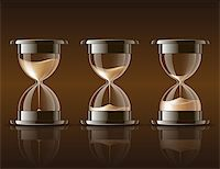 sand clock - Sand falling in the hourglass in three different states on dark background. Vector illustration Stock Photo - Royalty-Freenull, Code: 400-06743611
