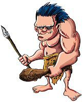 Cartoon vector illustration of a stooped muscular caveman or troglodyte in an animal skin loincloth brandishing a wooden cudgel and stone tipped spear isolated on white Stock Photo - Royalty-Freenull, Code: 400-06745742