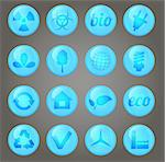 Environment vector glossy icons set