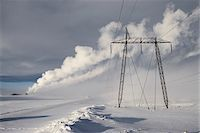 Power Lines in Winter Landscape with Steam from nearby Geothermal Power Plant in Background, Hellisheidi, Iceland Stock Photo - Premium Royalty-Freenull, Code: 600-06752554