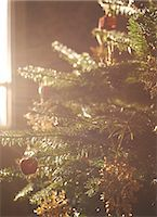snowflakes  holiday - Close up of decorated Christmas tree Stock Photo - Premium Royalty-Freenull, Code: 6113-06753358