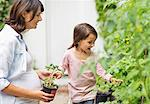 Pregnant mother and daughter gardening together Stock Photo - Premium Royalty-Free, Artist: Cultura RM, Code: 6113-06753627