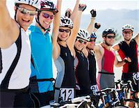 fitness   mature woman - Cyclists cheering together outdoors Stock Photo - Premium Royalty-Freenull, Code: 6113-06754142