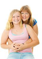 Portrait of a beautiful blond, blue eyed mother and teenage