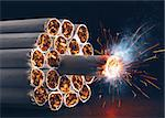 A pack of cigarettes in the form of dynamite ready to explode. Stock Photo - Royalty-Free, Artist: ktsimage, Code: 400-06759490