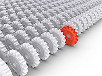 3d cogwheels in rows and one in front Stock Photo - Royalty-Freenull, Code: 400-06762308