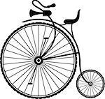 Silhouette of a vintage bicycle on a white background. EPS 10, AI, JPEG