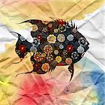 beautiful dark ornamental fish watercolor soft background