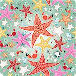seamless bright pattern of sea stars on a light green background