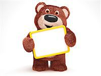 Illustration of Teddy Bear with Blank Sign on White Background Stock Photo - Premium Royalty-Freenull, Code: 600-06773121