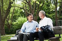 Businessmen Talking on Park Bench, Mannheim, Baden-Wurttemberg, Germany Stock Photo - Premium Royalty-Freenull, Code: 600-06773350