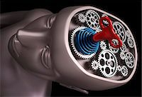 Clockwork brain, computer artwork. Stock Photo - Premium Royalty-Freenull, Code: 679-06781027