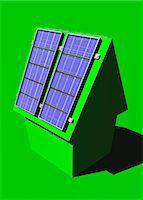 solar power - Green housing, conceptual computer artwork. Stock Photo - Premium Royalty-Freenull, Code: 679-06781107