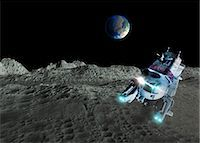 spaceship - Lunar exploration, computer artwork. Stock Photo - Premium Royalty-Freenull, Code: 679-06781135