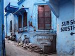 traditional blue walls of houses in the old district of Jodhpur, India