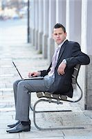 Young Businessman with Laptop Sitting on Bench, Bavaria, Germany Stock Photo - Premium Rights-Managed, Artist: David & Micha Sheldon, Code: 700-06786957