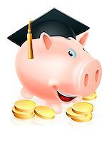 education loan - Cartoon education piggy bank with mortar board graduation hat on and gold coins. Concept for saving money for an education or schooling or college finances etc. Stock Photo - Royalty-Freenull, Code: 400-06787758