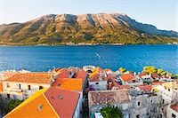 Korcula Town at sunset, elevated view from St. Marks Cathedral bell tower, Korcula Island, Dalmatian Coast, Adriatic, Croatia, Europe Stock Photo - Premium Rights-Managednull, Code: 841-06804774