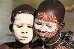 Portrait of two Surma boys with body paintings, Kibish, Omo River Valley, Ethiopia, Africa