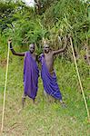 Two Surma men with scarification, Tulgit, Omo River Valley, Ethiopia, Africa