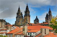 Cathedral spires in Old Town, Santiago de Compostela, UNESCO World Heritage Site, Galicia, Spain, Europe Stock Photo - Premium Rights-Managednull, Code: 841-06806578