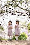 Female twins playing with soap bubbles between cherry trees Stock Photo - Premium Rights-Managed, Artist: Aflo Relax, Code: 859-06808319