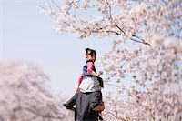 Father and daughter between cherry trees Stock Photo - Premium Rights-Managednull, Code: 859-06808383