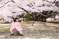 Female twins sitting under a cherry tree Stock Photo - Premium Rights-Managednull, Code: 859-06808443