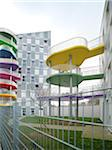 Contemporary Block Apartments with Colorful Patios, Paris, France