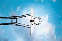 Basketball hoop, low angle Stock Photo - Premium Royalty-Freenull, Code: 649-06812730
