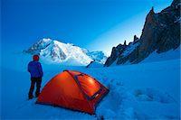 Europe, France, Haute Savoie, Rhone Alps, Chamonix Valley, camping beneath Mont Blanc (4810m); (MR) Stock Photo - Premium Rights-Managednull, Code: 862-06825447