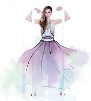 Young Woman Fashion Model Wearing Dress with Illustrated Embellishments Stock Photo - Premium Rights-Managednull, Code: 700-06826413