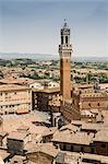 Elevated view of Piazza Del Campo, Siena, Italy
