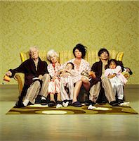 family shoes - Three generation family sitting sick in sofa Stock Photo - Premium Rights-Managednull, Code: 877-06834170