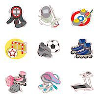 roller skate - Set of various sport related icons Stock Photo - Premium Royalty-Freenull, Code: 6111-06837176
