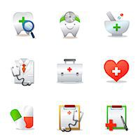 Set of various medical related icons Stock Photo - Premium Royalty-Freenull, Code: 6111-06837243