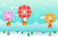Santa Claus and reindeer sitting in hot air balloon Stock Photo - Premium Royalty-Freenull, Code: 6111-06837693