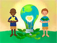 An illustration showing children engaging in an environmental issue. Stock Photo - Premium Royalty-Freenull, Code: 6111-06838282