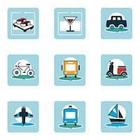 Set of various food and travel related icons Stock Photo - Premium Royalty-Freenull, Code: 6111-06838452
