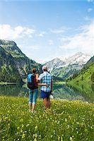 Couple Hiking by Lake, Vilsalpsee, Tannheim Valley, Tyrol, Austria Stock Photo - Premium Royalty-Freenull, Code: 600-06841775