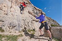 Female rock climbers near cliff base Stock Photo - Premium Royalty-Freenull, Code: 649-06845290