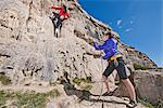 Female rock climbers near cliff base Stock Photo - Premium Royalty-Free, Artist: Cultura RM, Code: 649-06845290