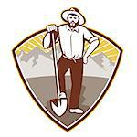 illustration of a gold digger miner prospector with shovel spade done in retro style set inside shield with mountains in background.