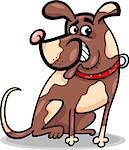 Cartoon Illustration of Funny Sitting Spotted Dog Character