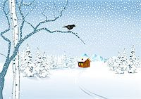 a cottage in the snow Stock Photo - Royalty-Freenull, Code: 400-06852329