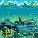 Seascape with treasure and galleon. Vector cartoon illustration Stock Photo - Royalty-Free, Artist: ddraw, Code: 400-06853319